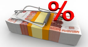 Dangerous interest rate. Financial risk. Mousetrap from pack of Russian rubles with red percentage as bait. Isolated. 3D Illustration Royalty Free Stock Photo