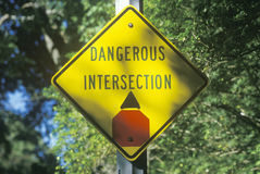 Dangerous intersection road sign Royalty Free Stock Photos
