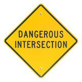 Dangerous Intersection sign Stock Images