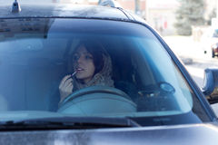 Dangerous Irresponsible Female Driver Stock Image
