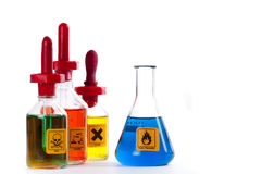 Dangerous lab Chemicals. Flammable in a conical flask Royalty Free Stock Photo