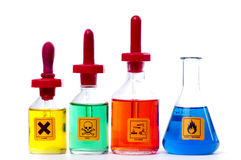 Dangerous lab Chemicals. Flammable in a conical flask Royalty Free Stock Photos