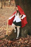 Dangerous Little red riding hood with an axe. Dangerous Little red riding hood posing with an axe before the wolf hunt Stock Photo