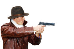 Dangerous looking mafia type with revolver. Stock Photos