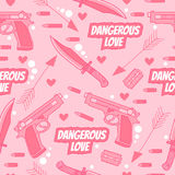 Dangerous Love. Funny seamless pattern. Royalty Free Stock Image