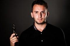 Dangerous man with a gun royalty free stock photos