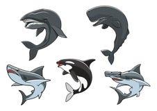Dangerous marine predators icon set Royalty Free Stock Images