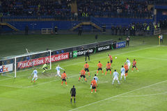 Dangerous moment at the gates Shakhtar Stock Image