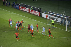 Dangerous moment at the gates Shakhtar Royalty Free Stock Images