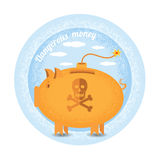 Dangerous money.Three piggy bank stand like a bomb.Vintage retro style shadow income icon on blue night circle background Royalty Free Stock Images