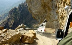 Dangerous mountain road in Himalayas. Nepal Royalty Free Stock Images