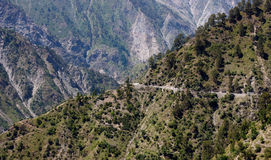 Dangerous mountain roads, Himalayas. Deadly and dangerous landslide prone twisting and turning curved mountainous roads and highway in the Himalayas in Jammu and stock photography