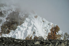Dangerous mountain snow slopes Royalty Free Stock Photos