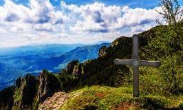 Dangerous Ciucas Mountain. Wooden cross on Ciucas Mountain Stock Images