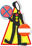 It is dangerous not to obey traffic signals. Figure of a man holding traffic signs with triangle symbol pointing danger must be fixed Royalty Free Stock Image