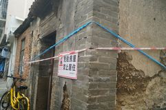 Dangerous old houses, forbidding people to live. Close-up of the appearance of an old house. In Shenzhen, china stock photography