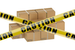 Dangerous parcel concept. Isolated on white background Stock Photo