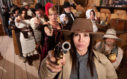 Dangerous People in Bar Point Their Guns Royalty Free Stock Images