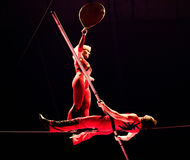 Dangerous circus performance. Artist from Orlando circus in a dangerous performance, Bucharest, Romania Stock Photography
