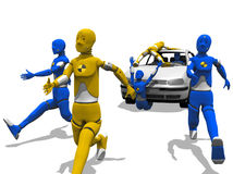 Dangerous pilot. Crash test dummy driving a car unsafely and other dummies running over a white background Royalty Free Stock Photography