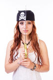 Dangerous pirate woman Stock Photos