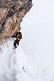Dangerous pitch during an extreme winter climbing. A dangerous pitch during an extreme winter climbing. Dolomiti (East Alps), Trentino, Italy, Europe Royalty Free Stock Photo
