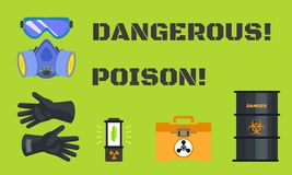 Dangerous poison concept banner, flat style royalty free illustration