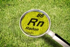 The dangerous radioactive radon gas under the ground - concept i. Mage with periodic table of the elements, magnifying lens and green grass area on background royalty free stock image