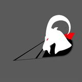 Dangerous ram. Aggressive dangerous sheep goat abstract contrast red gray black white animal hoof horn profile muzzle shortcut icon Stock Photography