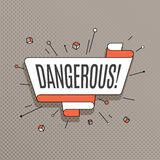 Dangerous.  Retro design element in pop art style on halftone co Royalty Free Stock Photo