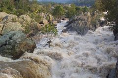 Dangerous River. Photo of the Potomac River at Great Falls Maryland after the rain of Hurricane Jeanne.  River is at flood stage.  This section of the river Stock Photo