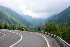 Dangerous road. Dangerous curve of road from Transfagarasan Stock Photos