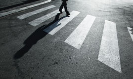 Dangerous road crossing with pedestrian Stock Photography