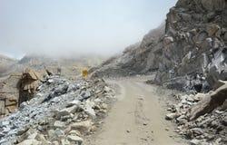 Dangerous road in Ladakh, India Stock Photo