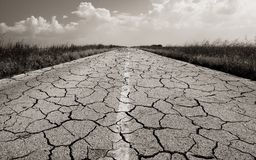 Dangerous road with many cracks Royalty Free Stock Photography
