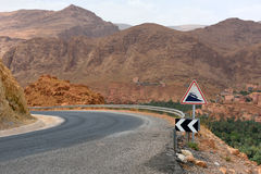 Dangerous road in North Africa. Dangerous road in a Atlas mountains, Morocco, North Africa Royalty Free Stock Photos