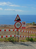 Dangerous road. One of the steep roads by the sea in Madeira island stock photography