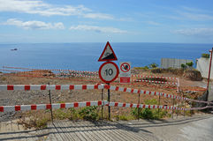 Dangerous road. One of the steep roads by the sea in Madeira island stock photo