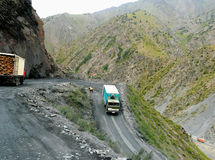 Dangerous road through the pass. The Shakhristan pass on the road from Dushanbe to Khujand, Tajikistan Stock Photo