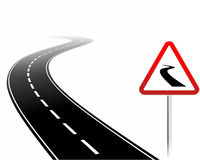 Dangerous road. Simplified illustration of a dangerous road with warning sign vector illustration