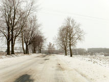 Dangerous road wit snow Royalty Free Stock Photography