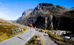 Dangerous roads descent in the mountains in Norway Royalty Free Stock Images