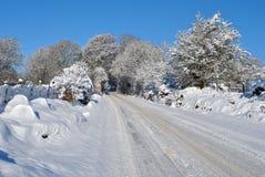 Dangerous roadway. Winter time dangerous road conditions in ireland Stock Image