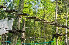 Dangerous ropeway with tether in rope park. Trees with green leaves stock image