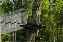 Dangerous ropeway with tether in rope park Royalty Free Stock Photography