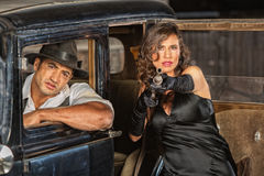 Dangerous 1920s Vintage Gangsters Stock Photography