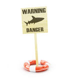 Dangerous shark warning sign Royalty Free Stock Photo