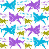 Dangerous sharks seamless pattern. Color print on white background royalty free illustration