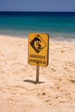 Dangerous Shore Break Sign. On sunny beach Stock Photo
