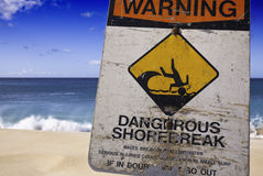 Dangerous Shore Break Warning Sign Stock Photos